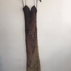 Sue Wong brown & gold sequin Gown